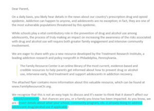 Sample Letter For Schools To Parents Treatment Research Institute